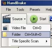 Handbrake file og folder
